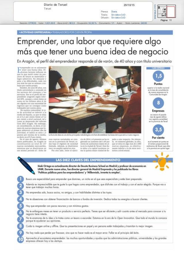 29/10/15Diario de Teruel Teruel Prensa: Diaria Tirada: Sin datos OJD Difusión: Sin datos OJD Página: 11 Sección: OTROS Val...