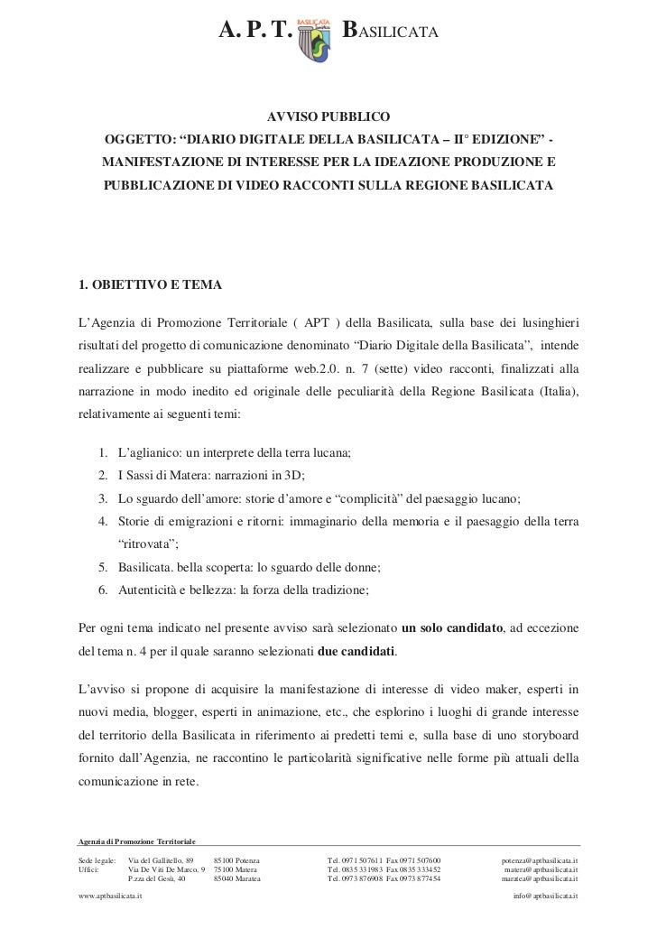 A. P. T.                 BASILICATA                                                           AVVISO PUBBLICO        OGGET...