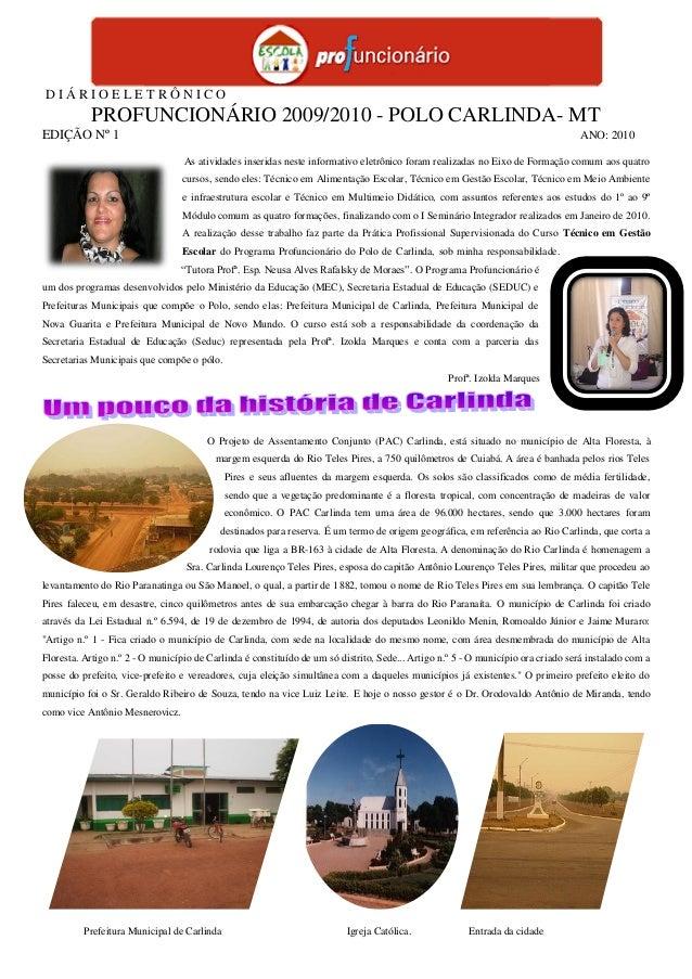 D I Á R I O E L E T R Ô N I C O PROFUNCIONÁRIO 2009/2010 - POLO CARLINDA- MT EDIÇÃO Nº 1 ANO: 2010 As atividades inseridas...