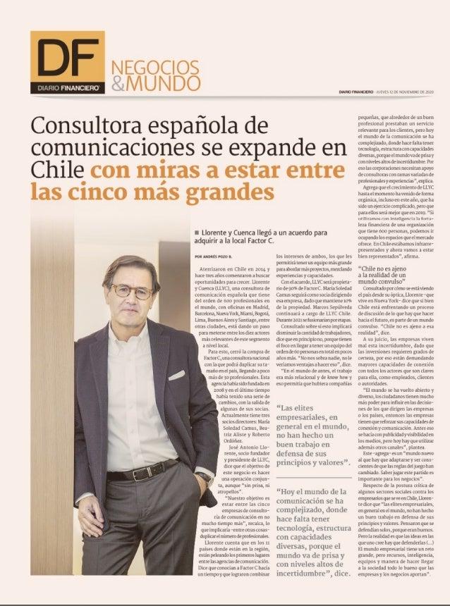 Diario Financiero: LLYC adquiere la consultora Factor C en Chile Slide 2