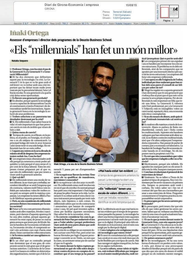 15/08/15Diari de Girona-Economía i empresa GIRONA Prensa: Semanal (Sabado) Tirada: 7.544 Ejemplares Difusión: 5.626 Ejempl...