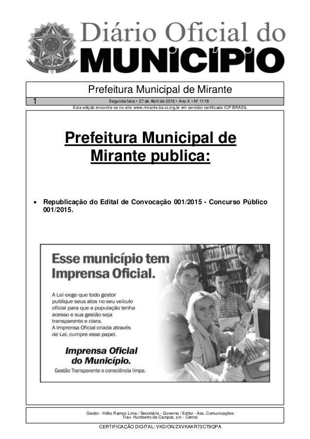 Gestor - Hélio Ramos Lima / Secretário - Governo / Editor - Ass. Comunicações Trav. Humberto de Campos, s/n - Centro CERTI...