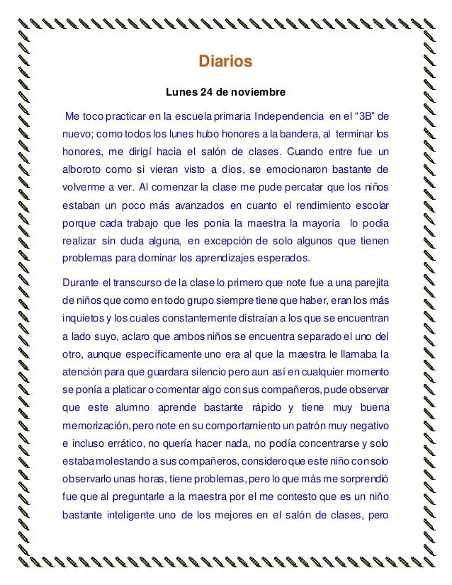 """Diarios Lunes 24 de noviembre Me toco practicar en la escuela primaria Independencia en el """"3B"""" de nuevo; como todos los l..."""