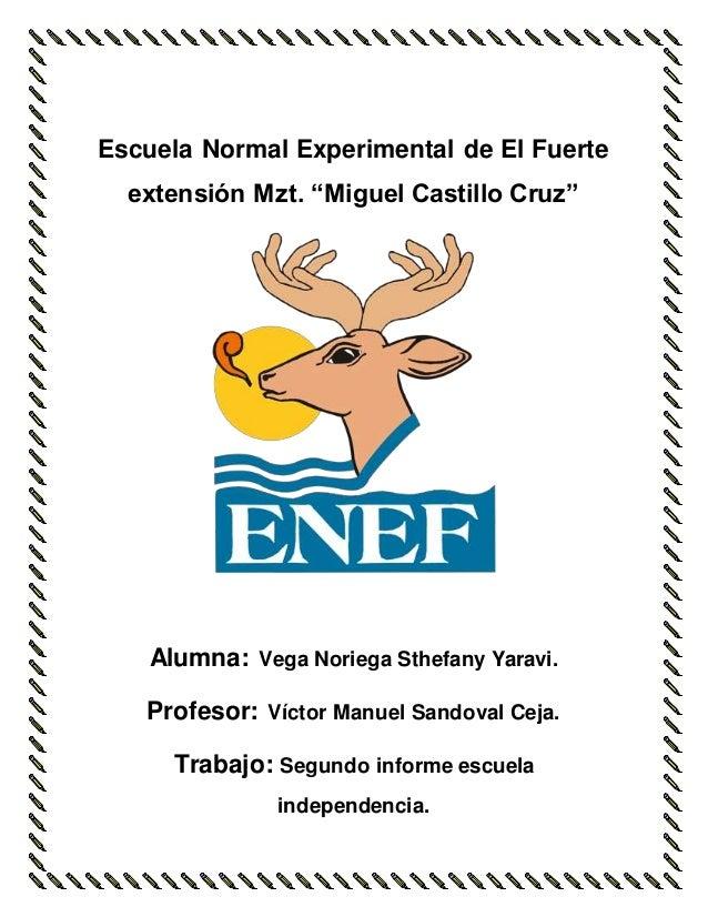 """Escuela Normal Experimental de El Fuerte  extensión Mzt. """"Miguel Castillo Cruz""""  Alumna: Vega Noriega Sthefany Yaravi.  Pr..."""