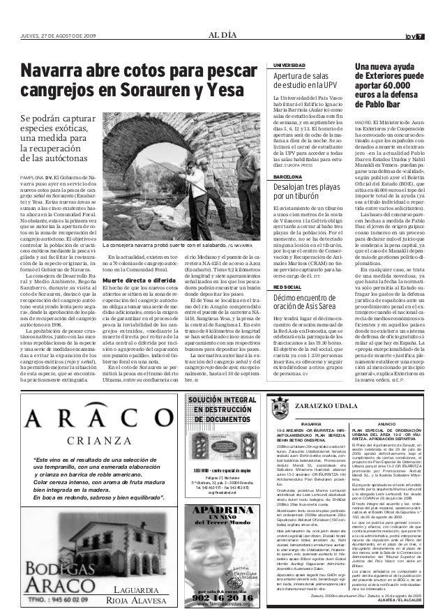AL DÍAJUEVES, 27 DE AGOSTO DE 2009 7DV Zarautz, 2009ko abuztuaren 26a / Zarautz, a 26 de agosto de 2009 ALKATEA / EL ALCAL...