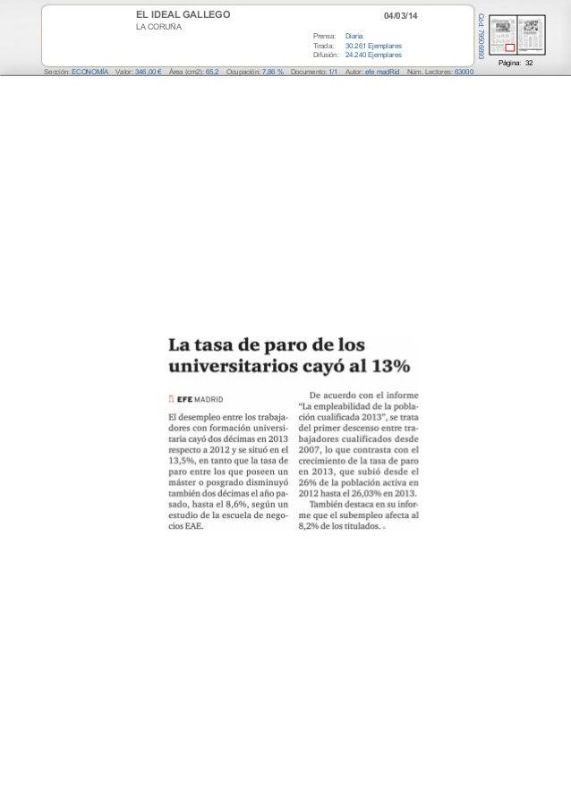 04/03/14  LA CORUÑA Prensa: Diaria Tirada: 30.261 Ejemplares Difusión: 24.240 Ejemplares  Cód: 79506893  EL IDEAL GALLEGO ...