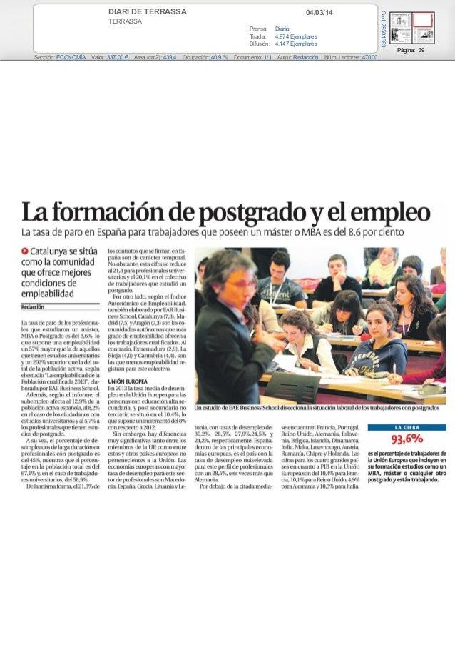 04/03/14  TERRASSA Prensa: Diaria Tirada: 4.974 Ejemplares Difusión: 4.147 Ejemplares  Cód: 79501383  DIARI DE TERRASSA  P...