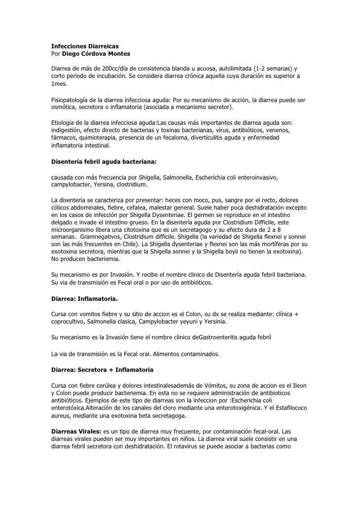 Infecciones Diarreicas Por Diego Córdova Montes  Diarrea de más de 200cc/día de consistencia blanda u acuosa, autolimitada...