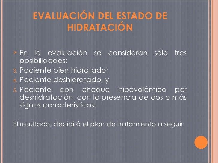 <ul><li>En la evaluación se consideran sólo tres posibilidades:  </li></ul><ul><li>Paciente bien hidratado;  </li></ul><ul...