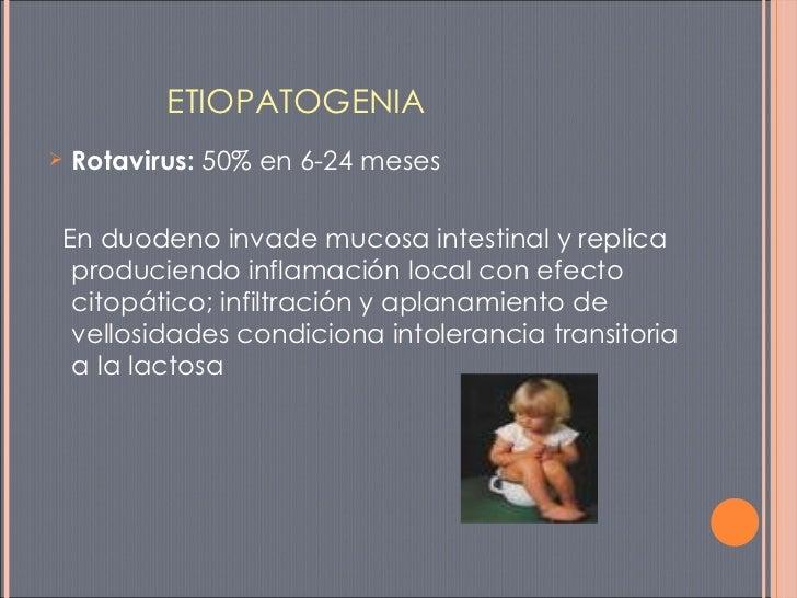 <ul><li>Rotavirus:  50% en 6-24 meses </li></ul><ul><li>En duodeno invade mucosa intestinal y replica produciendo inflamac...