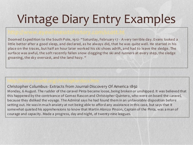 Diary Entries Vintage And Contemporary