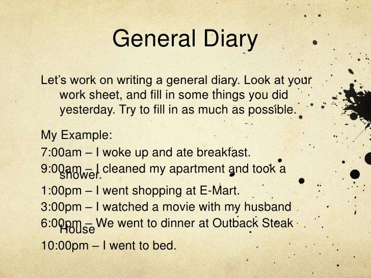 Daily diary writing in english