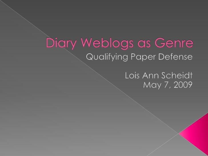 This literature review is to explore how researchers have constructed genre and subgenre of single-author diary weblogs wi...