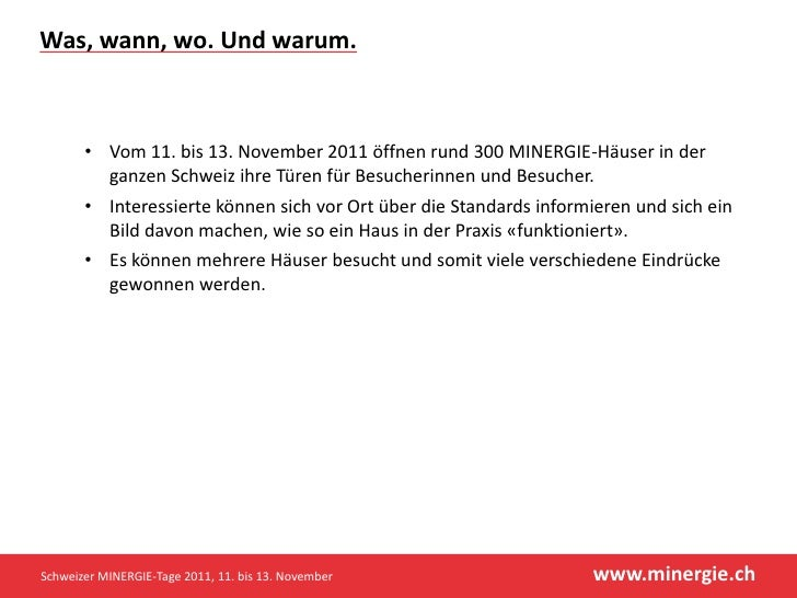 Schweizer MINERGIE-Tage 2011 Slide 2