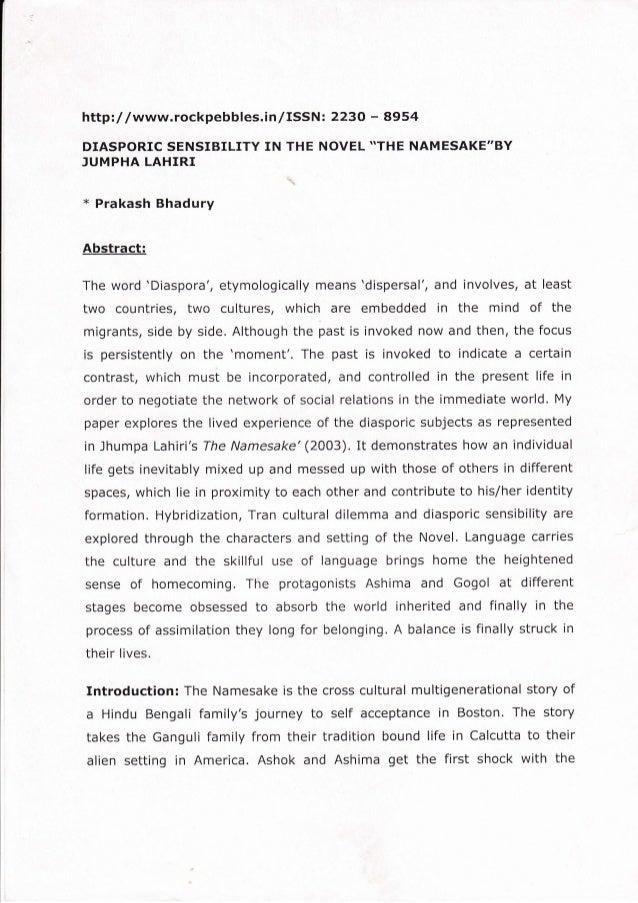 "httpl/ /www.rockpebbles.inlISSNt 2230 - 8954 DIASPORIC SENSIBILITY IN THE NOVEL *THE NAMESAKE""BY ]UMPHA LAHIRI x Prakash B..."