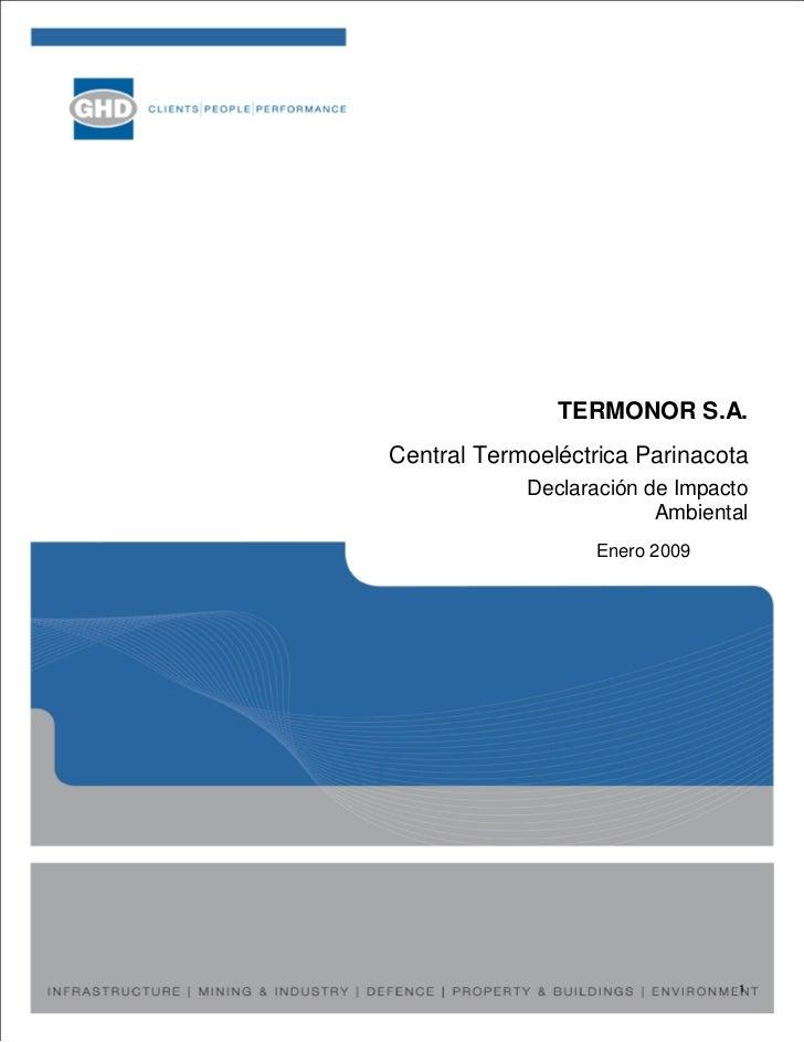 TERMONOR S.A. Central Termoeléctrica Parinacota             Declaración de Impacto                          Ambiental     ...