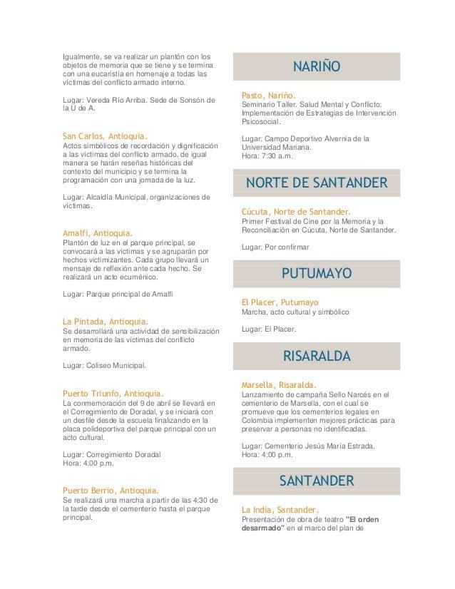 DIA NACIONAL DE VICTIMAS DEL CONFLICTO ARMADO Slide 3
