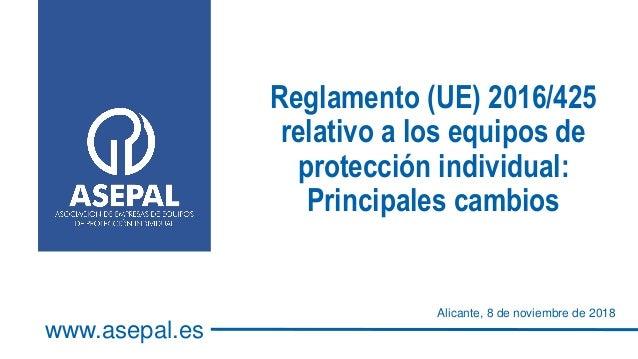Reglamento (UE) 2016/425 relativo a los equipos de protección individual: Principales cambios Alicante, 8 de noviembre de ...