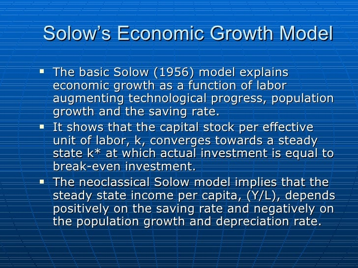 the solow neoclassical growth model economics essay Our paper presents model that is consistent with the economic growth facts,  documented by kaldor (1961) and used by solow (1969) and provides a  prototype.