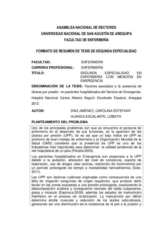 ASAMBLEA NACIONAL DE RECTORES  UNIVERSIDAD NACIONAL DE SAN AGUSTÍN DE AREQUIPA  FACULTAD DE ENFERMERÍA  FORMATO DE RESUMEN...