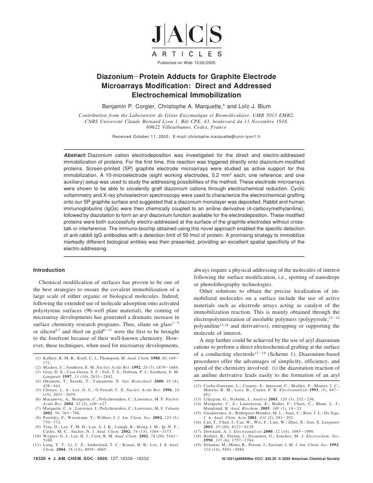 Published on Web 12/02/2005                                      Diazonium-Protein Adducts for Graphite Electrode         ...