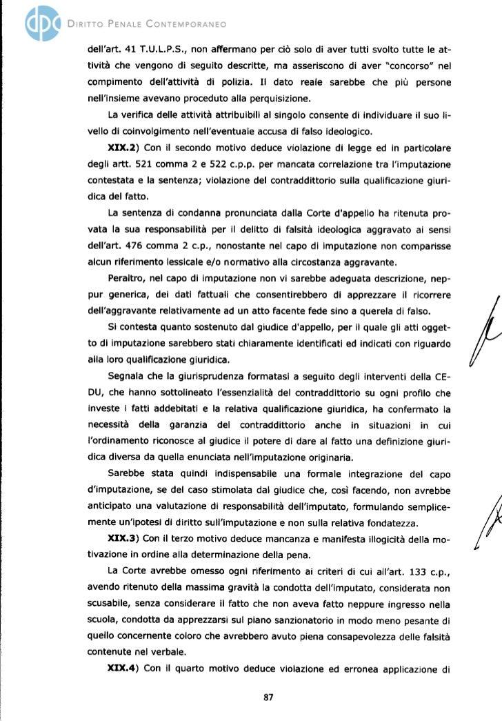 Diaz, la sentenza di Cassazione (seconda parte)