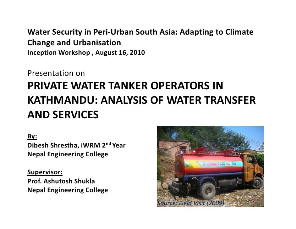 Water Security in Peri-Urban South Asia: Adapting to Climate Change and Urbanisation Inception Workshop , August 16, 2010 ...