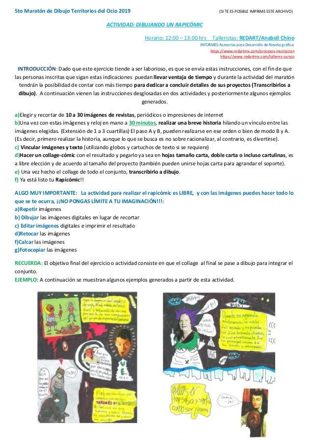 5to Maratón de Dibujo Territorios del Ocio 2019 (SI TE ES POSIBLE IMPRIME ESTE ARCHIVO) ACTIVIDAD: DIBUJANDO UN RAPICÓMIC ...
