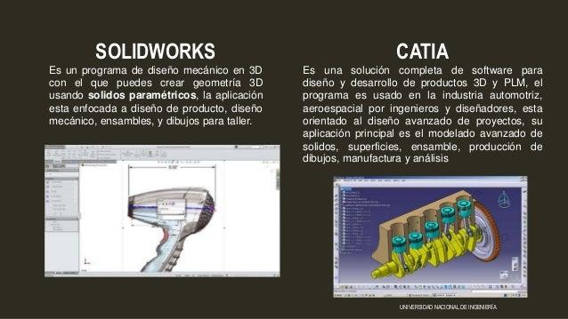 CATIA Es una solución completa de software para diseño y desarrollo de productos 3D y PLM, el programa es usado en la indu...
