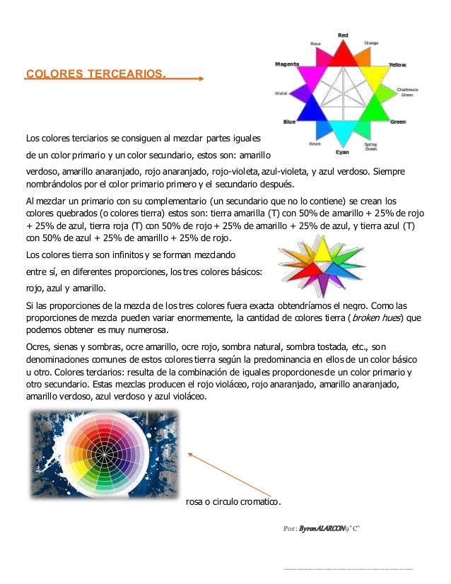 COLORES TERCEARIOS. Los colores terciarios se consiguen al mezclar partes iguales de un color primario y un color secundar...
