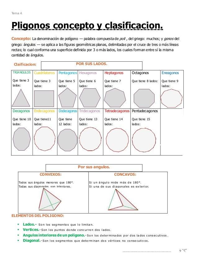 Tema 4. Pligonos concepto y clasificacion. Concepto: La denominación de polígono — palabra compuesta de poli , del griego:...