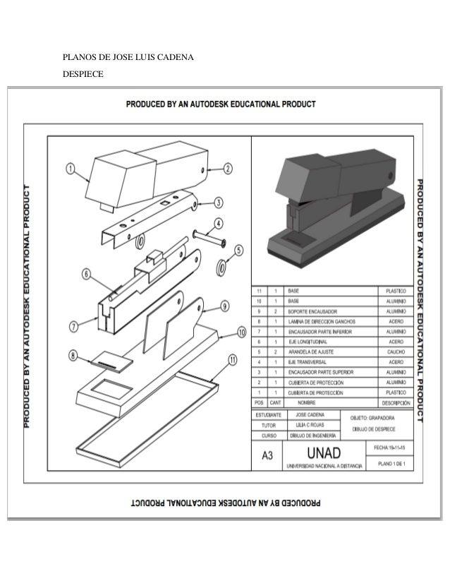 dibujo de ingenieria despiece