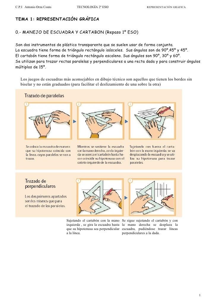 C.P.I Antonio Orza Couto           TECNOLOGÍA 2º ESO                                REPRESENTACIÓN GRAFICA    TEMA 1: REPR...