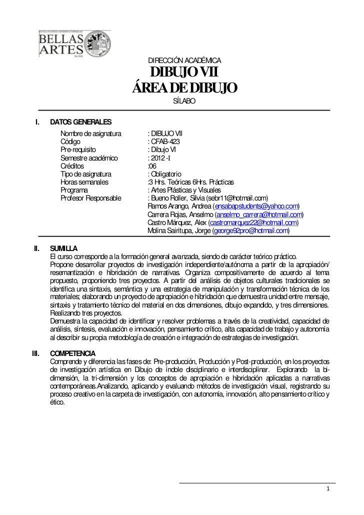 DIRECCIÓN ACADÉMICA                                       DIBUJO VII                                     ÁREA DE DIBUJO   ...