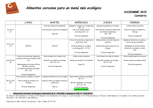 Alimentos cercanos para un menú más ecológico DICIEMBRE 2015 Cantabria LUNES MARTES MIÉRCOLES JUEVES VIERNES Del 1 al 4 S2...