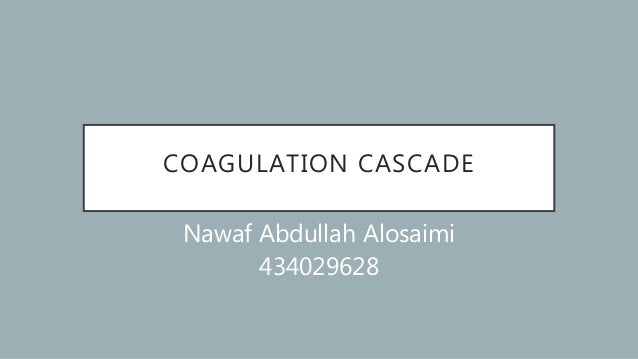 COAGULATION CASCADE Nawaf Abdullah Alosaimi 434029628