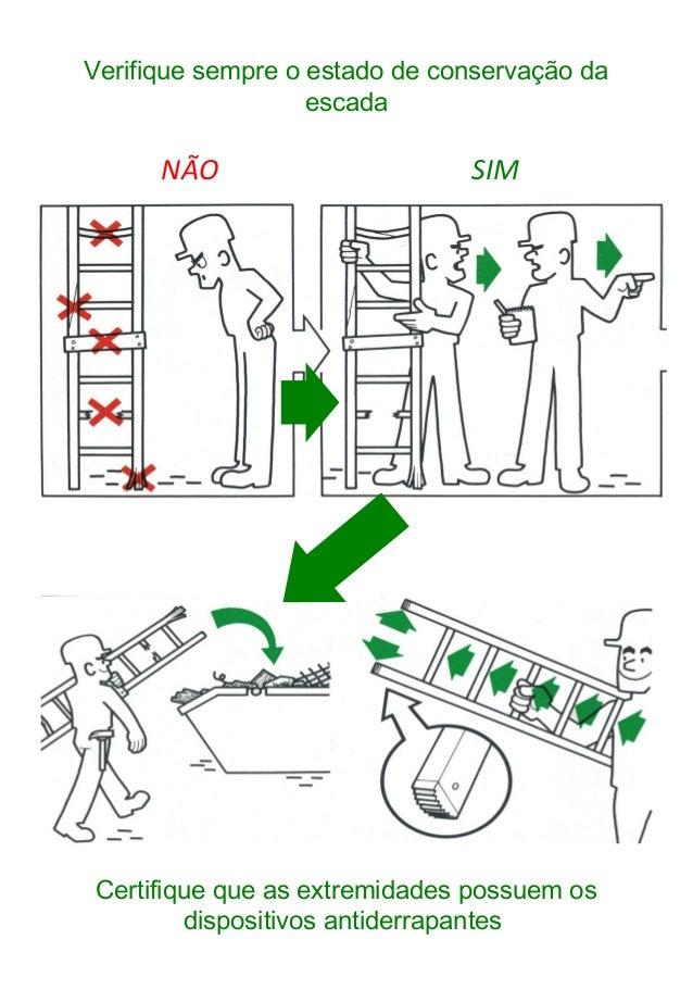 Verifique sempre o estado de conservação da escada SIMNÃO Certifique que as extremidades possuem os dispositivos antiderra...