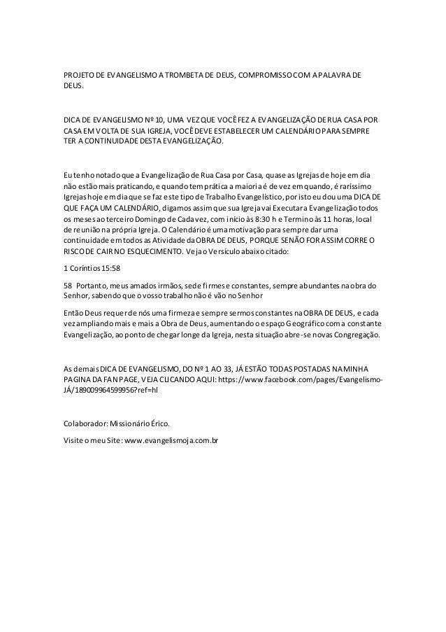 PROJETO DE EVANGELISMO A TROMBETA DE DEUS, COMPROMISSO COM A PALAVRA DE  DEUS.  DICA DE EVANGELISMO Nº 10, UMA VEZ QUE VOC...
