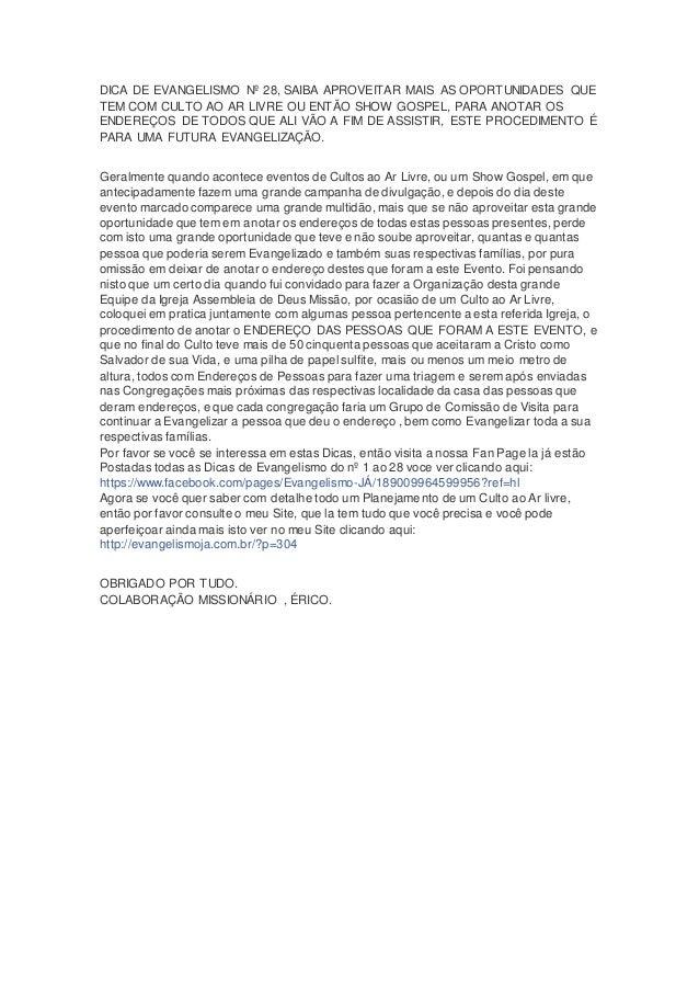 DICA DE EVANGELISMO Nº 28, SAIBA APROVEITAR MAIS AS OPORTUNIDADES QUE  TEM COM CULTO AO AR LIVRE OU ENTÃO SHOW GOSPEL, PAR...