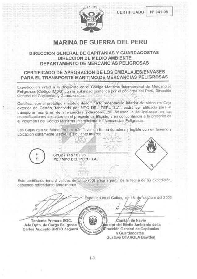 Dicapi   certificado de aprobación de envase para dgr