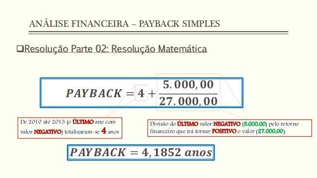 dicas de excel an lise financeira payback simples. Black Bedroom Furniture Sets. Home Design Ideas