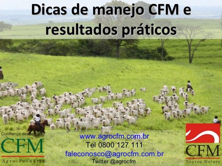 Dicas de manejo CFM e  resultados práticos         www.agrocfm.com.br          Tel 0800 127 111    faleconosco@agrocfm.com...
