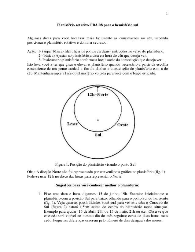 1 Planisfério rotativo OBA 08 para o hemisfério sul  Algumas dicas para você localizar mais facilmente as constelações no ...