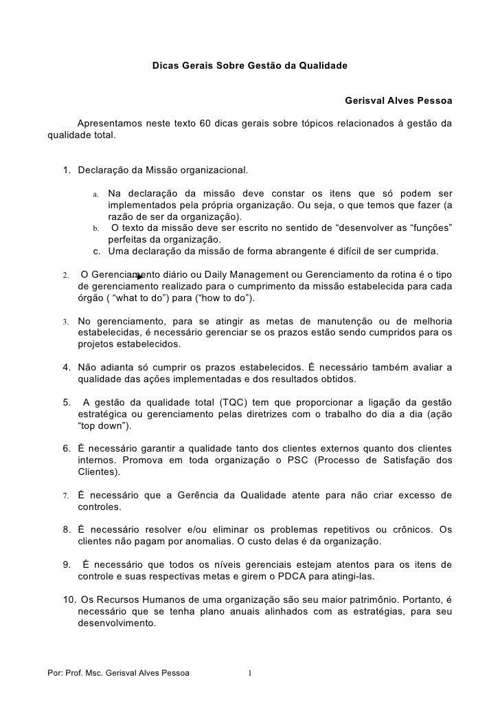 Dicas Gerais Sobre Gestão da Qualidade                                                                    Gerisval Alves P...