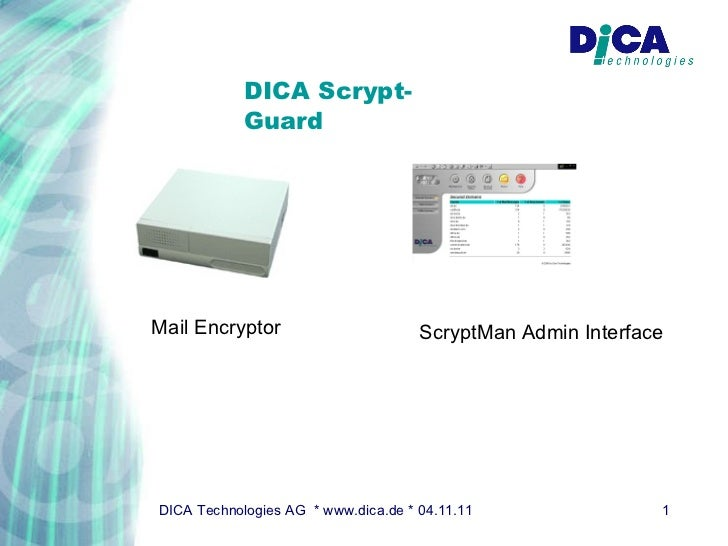 DICA Scrypt-Guard Mail Encryptor ScryptMan Admin Interface