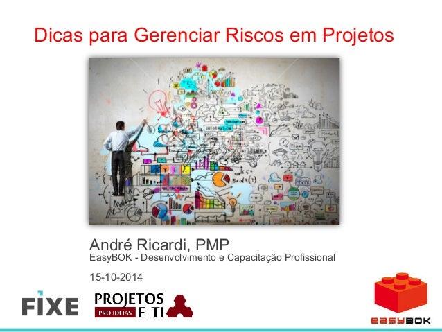 Dicas para Gerenciar Riscos em Projetos  André Ricardi, PMP  EasyBOK - Desenvolvimento e Capacitação Profissional  15-10-2...