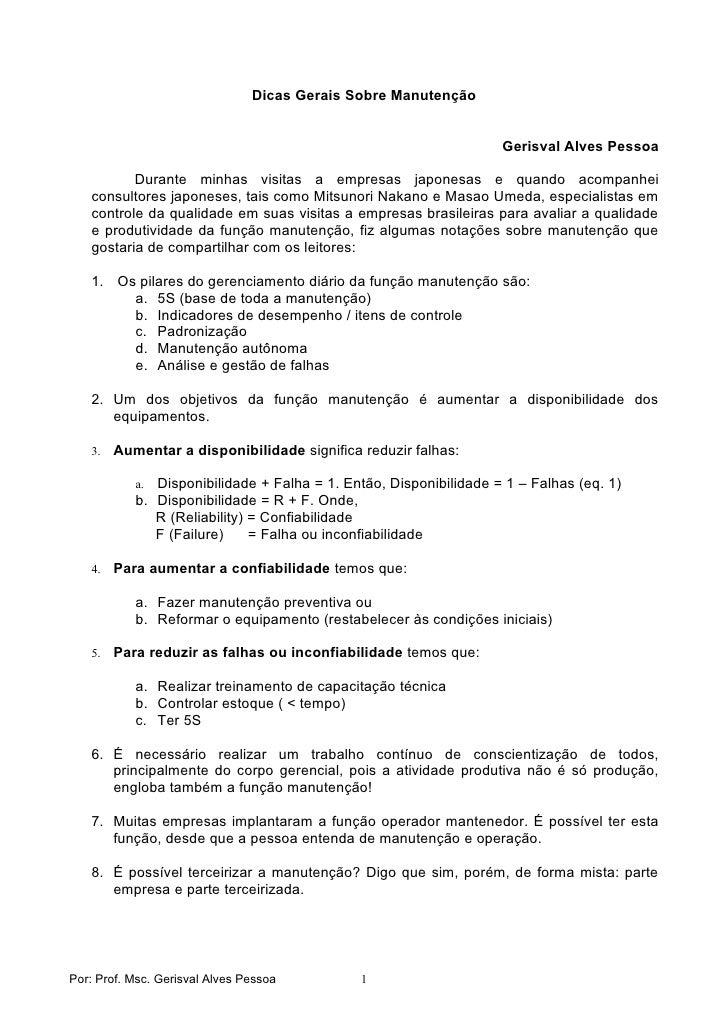 Dicas Gerais Sobre Manutenção                                                                      Gerisval Alves Pessoa  ...
