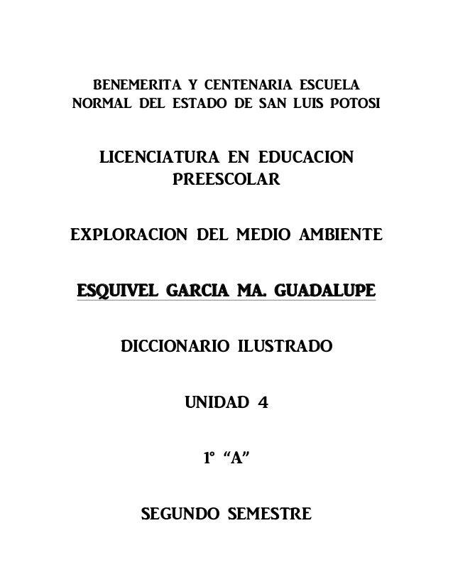 BENEMERITA Y CENTENARIA ESCUELA NORMAL DEL ESTADO DE SAN LUIS POTOSI LICENCIATURA EN EDUCACION PREESCOLAR EXPLORACION DEL ...
