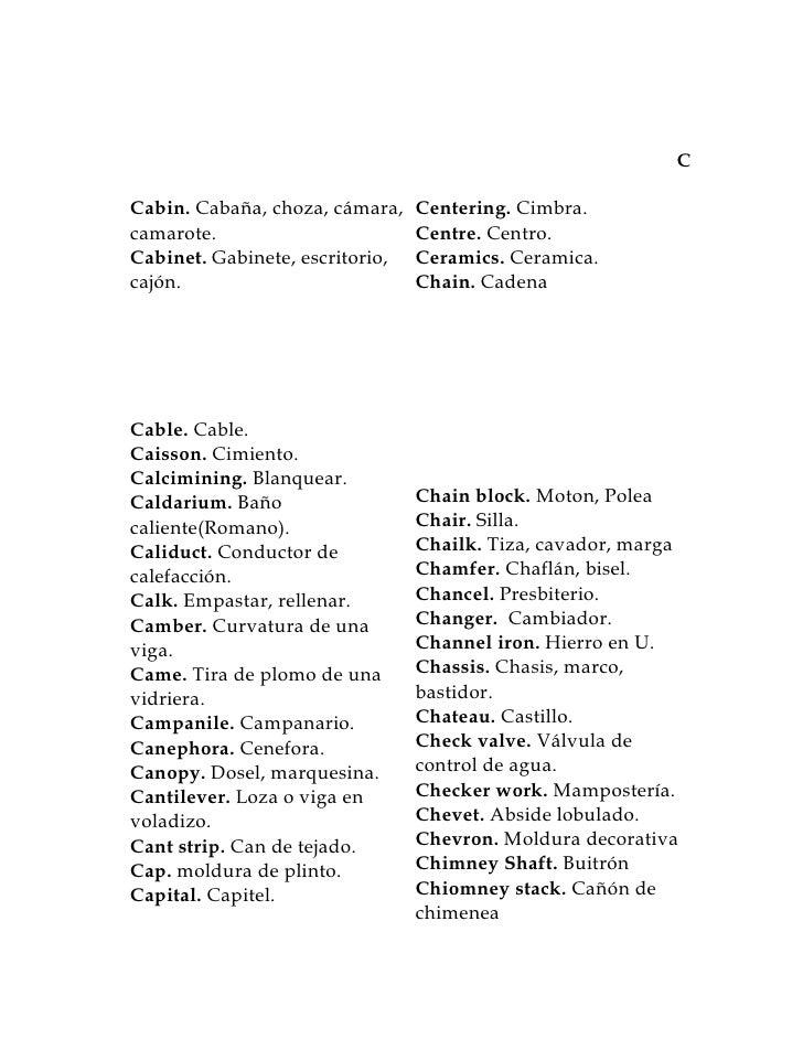 Diccionario De Arquitectura Inglés Españól