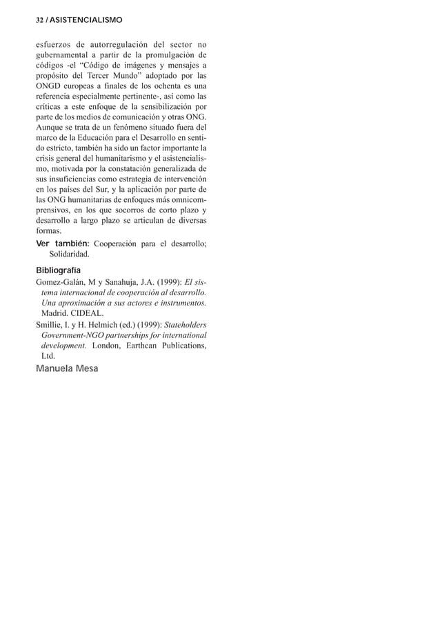 """32 / ASISTENCIALISMO esfuerzos de autorregulación del sector no gubernamental a partir de la promulgación de códigos -el """"..."""